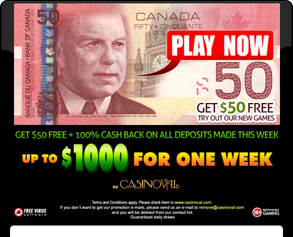 CasinoVal $50 Free Bonus - Play Now!